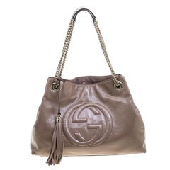 Gucci Beige Patent Leather Medium Soho Tote