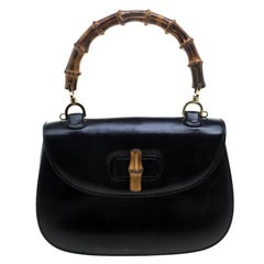 Gucci Black Leather New Bamboo Top Handle Bag