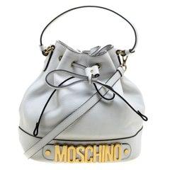 Moschino White Leather Drawstring Bucket Bag