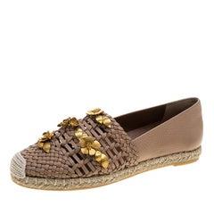 Valentino Beige Woven Leather Floral Embellished Espadrilles Size 37