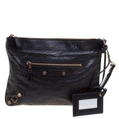 Balenciaga Black Leather RH Rose Gold Flat Clutch