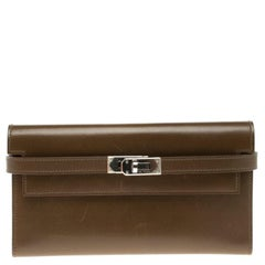 Hermes Olive Barenia Box Calf Leather Long Kelly Wallet