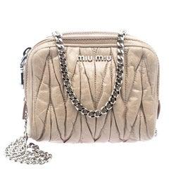 Miu Miu Beige Matelasse Leather Double Zip Chain Bag