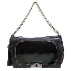 Celine Black Leather Turnlock Chain Shoulder Bag