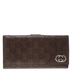 Gucci Brown Guccissima Leather Britt Continental Wallet