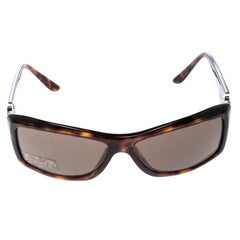 Bvlgari Brown Havana 8007-B Embellished Crystal Rectangular Sunglasses