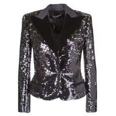 Dolce and Gabbana Black Sequin Paillette Embellished Velvet Trim Blazer S