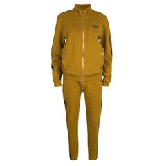 Dolce and Gabbana Mustard Yellow Cotton Knit Contrast Stripe Tracksuit L