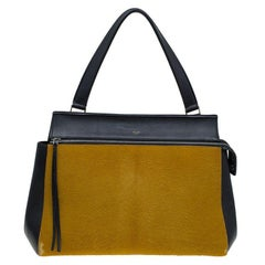 Celine Black/Yellow Leather and Calf Hair Large Edge Tote