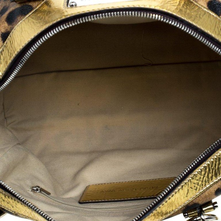 915a376886 Dolce and Gabbana Gold Leopard Print Leather Miss Easy Way Boston Bag In  Good Condition For