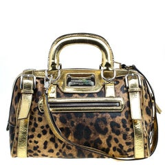 Dolce and Gabbana Gold Leopard Print Leather Miss Easy Way Boston Bag