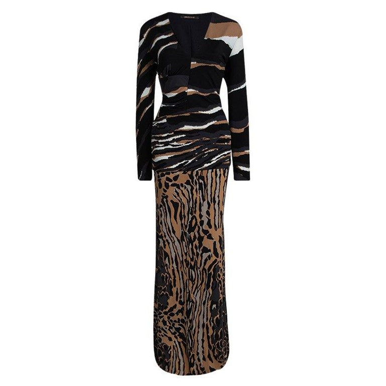 4a604aa6d0 Roberto Cavalli Multicolor Animal Printed Knit Top and Maxi Skirt Set L For  Sale