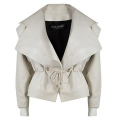 Balmain Off White Corded Waist Tie Detail Lambskin Leather Jacket S