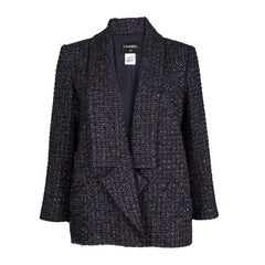 Chanel Multicolor Lurex Tweed Notched Collar Blazer XL