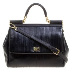 Dolce and Gabbana Black Striped Leather Large Miss Sicily Tote