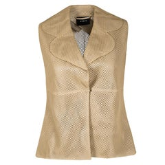 Akris Beige Perforated Lamb Leather Sleeveless Vest M