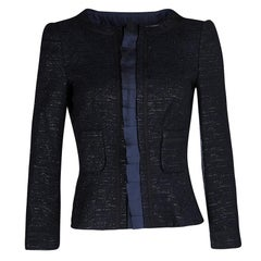 CH Carolina Herrera Navy Blue Textured Lurex Knit Cropped Jacket M