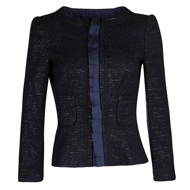 6f116f7bb2225 CH Carolina Herrera Navy Blue Textured Lurex Knit Cropped Jacket M For Sale