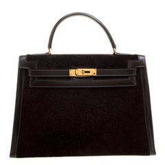 Hermes Dark Marron Box Calf Leather and Suede Gold Hardware Kelly Sellier 32 Bag