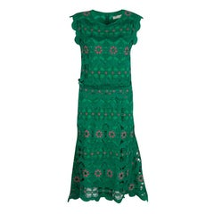 Chloe Grass Green Guipure Lace High Low Midi Dress S