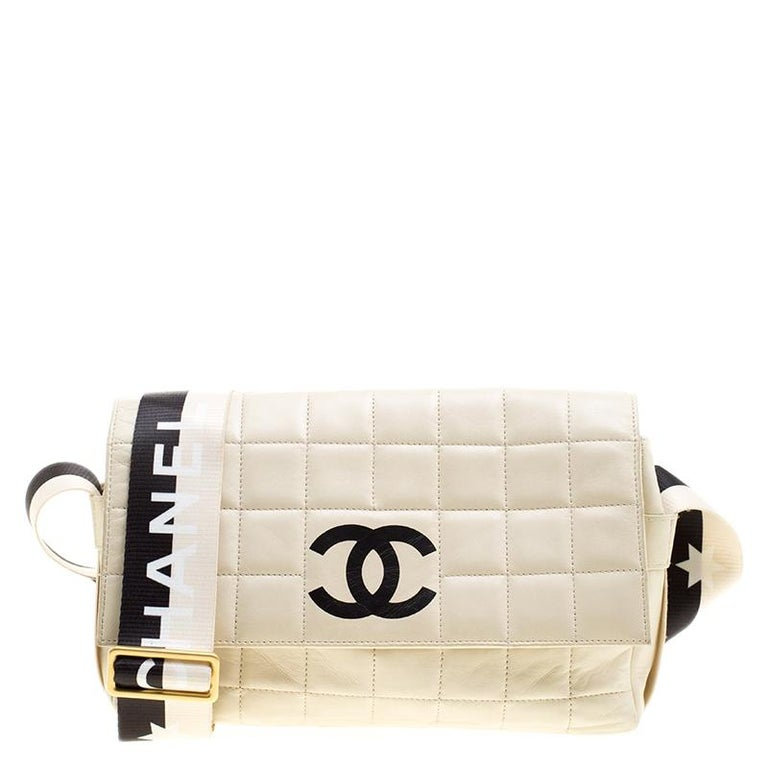 47fdc6c01647 Chanel Ivory Quilted Leather East West Star Chocolate Bar Flap Shoulder Bag  For Sale