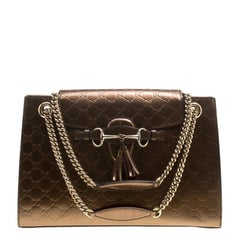 Gucci Brown Guccissima Patent Leather Large Emily Chain Shoulder Bag