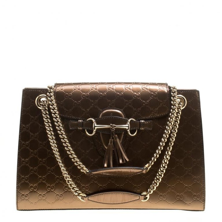 6e5e79d64a55c7 Gucci Brown Guccissima Patent Leather Large Emily Chain Shoulder Bag For  Sale
