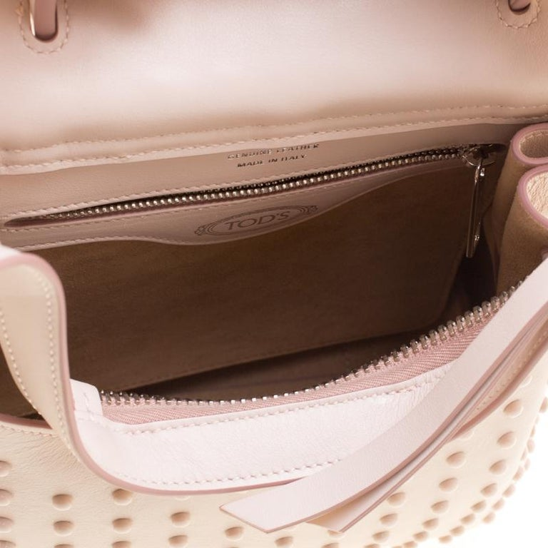 a046ae2ac2c Tod's Blush Pink Leather Mini Wave Top Handle Backpack For Sale at ...