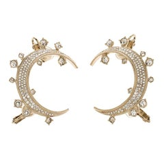 Chanel CC Crystal Gold Tone Moon Clip On Cuff Earrings