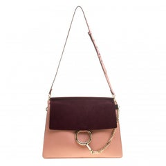 Chloe Peach/Burgundy Leather and Suede Faye Shoulder Bag
