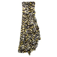 Missoni Multicolor Tiger Print Ruffled Silk Strapless Tansy Dress S