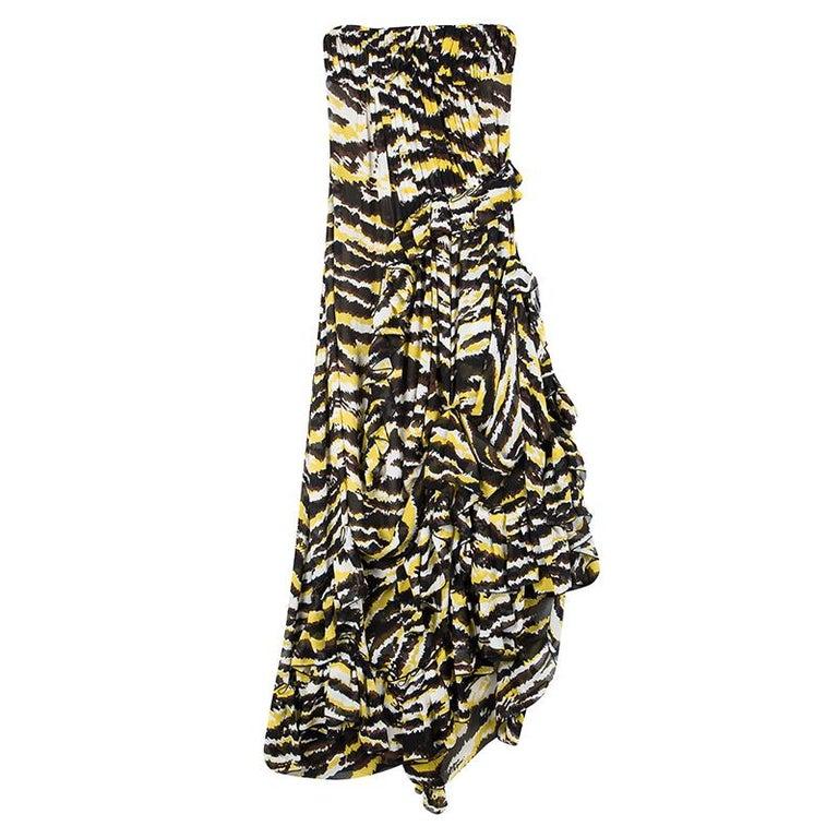 befdc19e07dd Missoni Multicolor Tiger Print Ruffled Silk Strapless Tansy Dress S For Sale