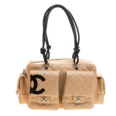 Chanel Beige/Black Quilted Leather Ligne Cambon Reporter Bag