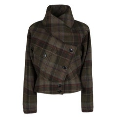 Ralph Lauren Multicolor Plaid Draped Collar Detail Cashmere Jacket L