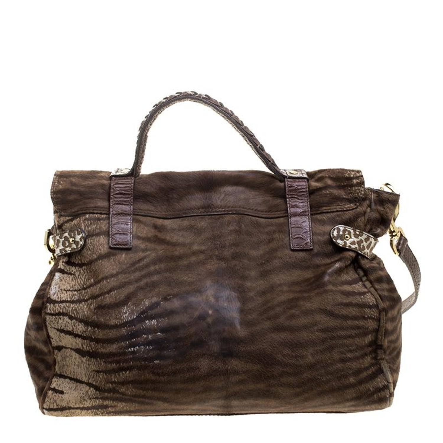c1ce3d748b20 Mulberry Brown Zebra Print Calf Hair Oversized Alexa Satchel For Sale at  1stdibs