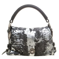 Chanel Metallic Black/Silver Pony Hair and Leather Top Handle Satchel