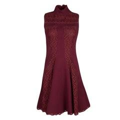 Alexander McQueen Maroon Lace Panel Scallop Trim Detail Sleeveless Dress S