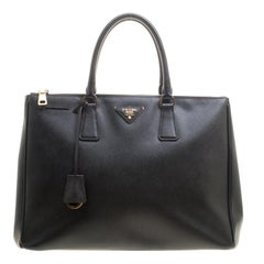Prada Black Saffiano Lux Leather Large Double Zip Tote