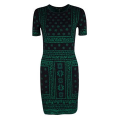 Alexander McQueen Black and Green Floral Pattern Jacquard Knit Pencil Dress M