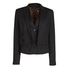 Dolce and Gabbana Black Pin Striped Wool Layered Blazer M