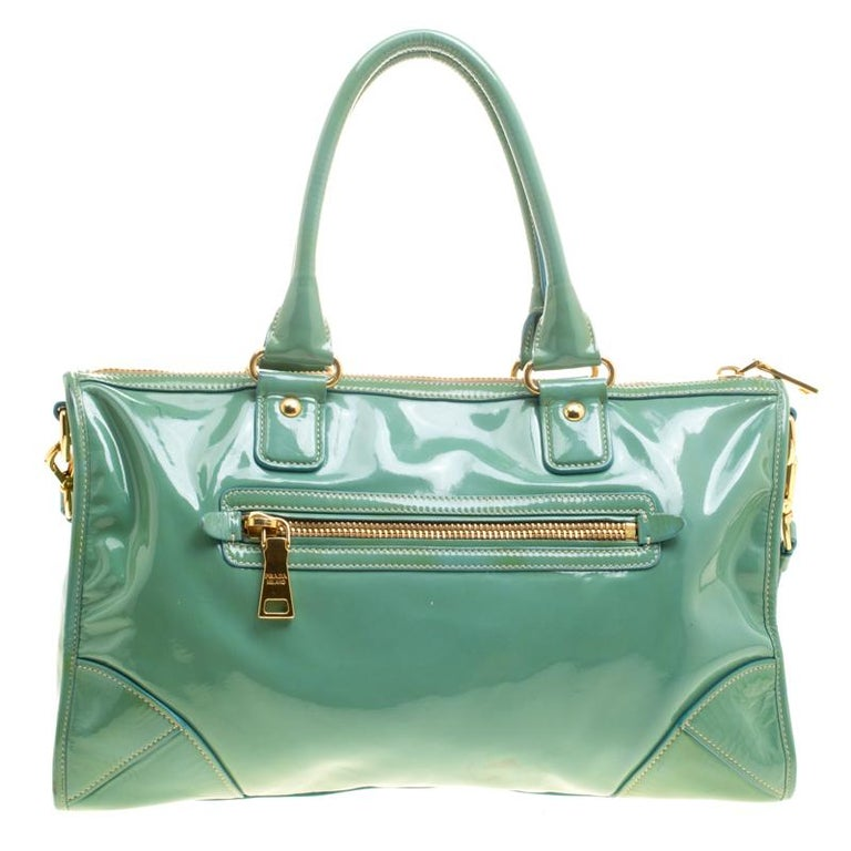20235b9ec354 Prada Green Patent Leather Satchel For Sale. Durable and high on style  swing along this Prada satchel to work or on lunch with