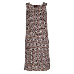 Missoni Multicolor Perforated Jacquard Knit Paneled Sleeveless Dress M