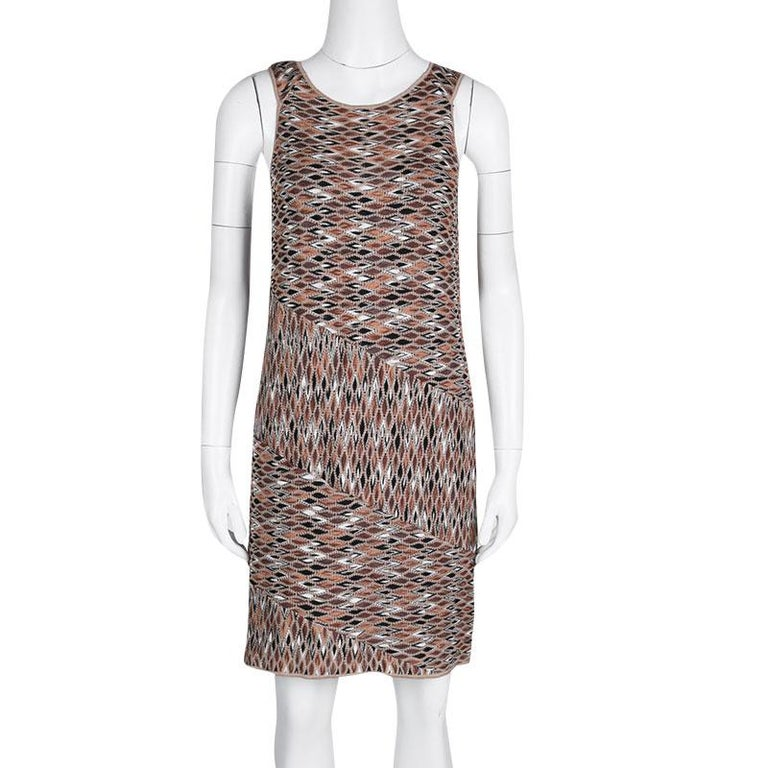 Gray Missoni Multicolor Perforated Jacquard Knit Paneled Sleeveless Dress M For