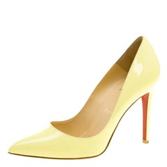 Christian Louboutin Yellow Patent Leather Pigalle Pointed Toe Pumps Size 38.5