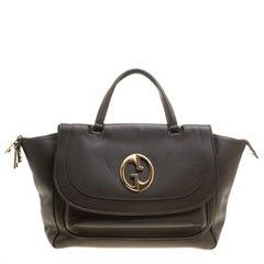 Gucci Grey Leather Medium 1973 Top Handle Tote Bag