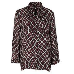 Gucci Black Printed Neck Tie Detail Silk Blouse M
