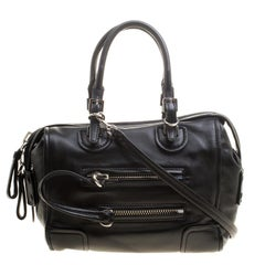 Valentino Black Leather Bowling Bag