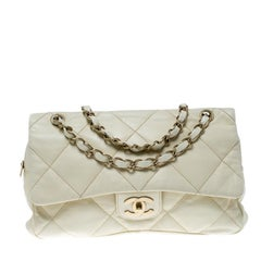 Chanel Cream Quilted Leather Flap Bag