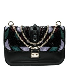 Valentino Black Leather Medium Beads Embellished Glam Lock Shoulder Bag