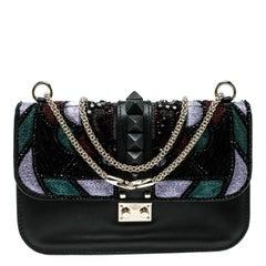 Valentino Black Leather Medium Beads Embellished Glam Lock Shoulder Bag